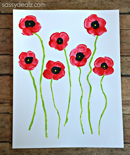 Poppy Flower Fingerprint Craft for Kids
