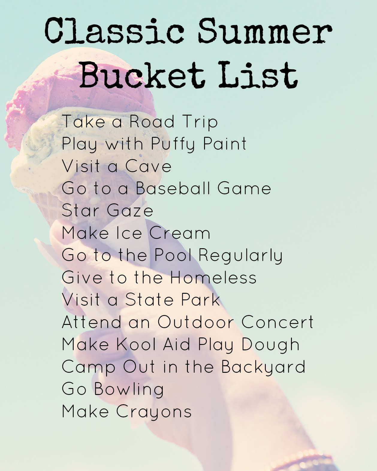 Your Summer Bucket List  and Remembering the Summer Fun – Creative Ideas and Free Printables